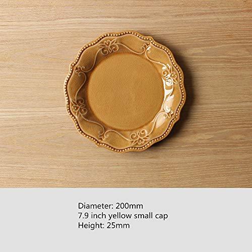 Zwart dinerbord, heeft een eenvoudige moderne Scandinavische stijl, traditionele Amerikaanse reliëf ijs gebarsten keramische salade snoep plaat, blauw met de hand beschilderd keramisch servieset, steengoed plaat ivoor conventional 7,9 Inch Gele Saus