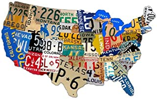 Past Time Signs (PS044) License Plate USA Map Die-Cut Steel Sign 25