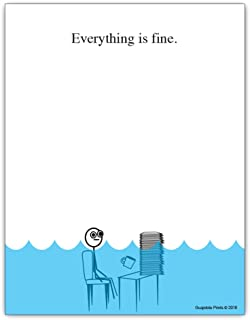 Everything is Fine Paper Pad – 4.25 x 5.5 inch, 50 sheets – Funny Office Desk..