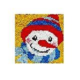 Lxmsja Kit per Ferri da Uncinetto di Tappeti Fai da Te per Adulti, Latch Hook rug Kits Tappeto da Ricamo Punto Croce Artigianato d'Arte con Motivo Stampato-Uomo di Neve 11,8 * 11,8inch