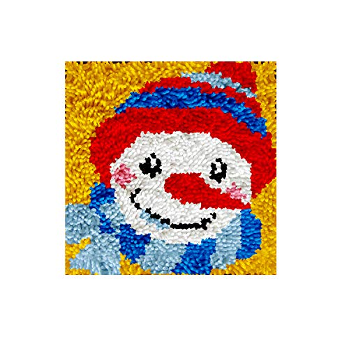 DIY Latch Hook Rug Kits, Kit de Ganchillo Alfombras para Adultos, Alfombras de Crochet Bordados en Punto de Cruz con Lienzo Impreso-Hombre de Nieve 11,8*11,8inch