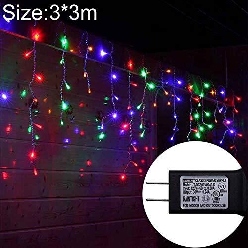 Decoratieve verlichting UL588 3m (Lengte) x 3m (Hoogte) IP43 waterdichte LED gordijn licht, 300 LED Fairy String Decoratieve Light met End Joint & 8 Model Functies, US Plug (kleurrijk licht) Decoratie