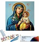 Beaxqb Pintar por Numeros para Adultos Niños Cultura Religiosa Lienzo Colorido con cepillos Decoración Decoraciones Pared LienzoArte decoración del hogar 40x40cmSin Marco