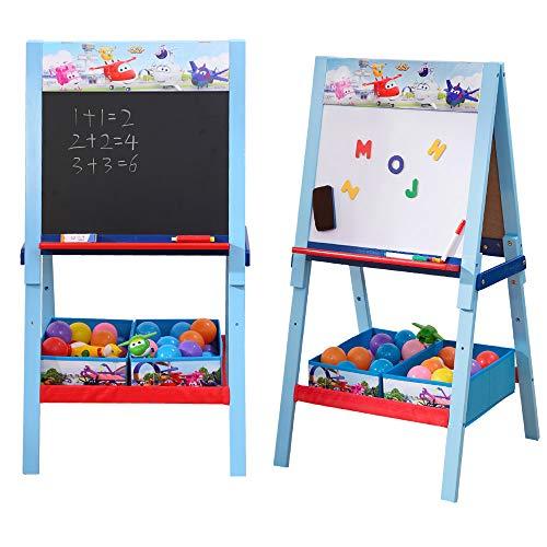 Super Wings Staffelsezel voor kinderen, dubbelzijdig schrijfbord met dozen & opbergruimte, kinderen schoolbord whiteboard & tafel (hout)