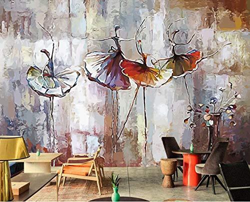 Mural - tela no tejida - papel tapiz pintura mural europea fondo de pared de bailarina de ballet herramientas de pintura al óleo @ 300 * 210cm Poster-wall sticker-pvc sticker decoración de la habitaci