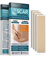 """Silicone Scar Removal Sheets - Keloid, C Section, Post Surgery & Acne Scars Treatment - 2 Month Supply - Silicon Soft Long Strips & Sheets 5.7"""" x 1.57"""" 4 pc. - Healing Alternative to Gel, Tape & Cream"""