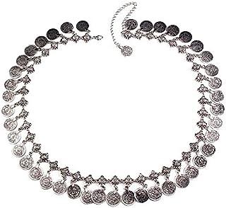 FemNmas Silver Metal Multi Coin Belly Waist Chain for Women