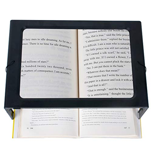 3X Full Page Magnifying Glass for Reading, Hands-Free Large Rectangular Magnifier with LED Lighted, Foldable Desktop Portable Reading Magnifier for Low Vision, Seniors with Aging Eyes