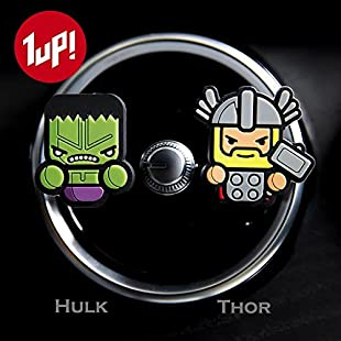 2 x Coolest Novelty Car Air Fresheners! Marvel Avengers, Game Of Thrones, Star Wars, Deadpool, Spider-Man, Batman, Superman, Ironman, Captain America, Hulk, Thor, Ninja Turtles...Transform Your Boring Car Into The Coolest Car In 60 Seconds! FREE DELIVERY IN 2 TO 3 WORKING DAYS! (Avengers Hulk & Thor (Fresh Lemon))