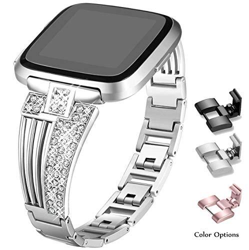 Valchinova - Correa de Repuesto para Fitbit Versa con Brillantes de imitación de Metal