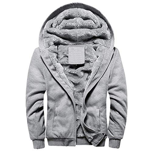 HOSD Us/EU Size Super Warm Hoodies Sudaderas Hombres Winter Fleece Grueso Chaquetas para Hombres Casual Zipper Hoody Abrigos para Adultos Ropa Superior Hombre w11 Gris L