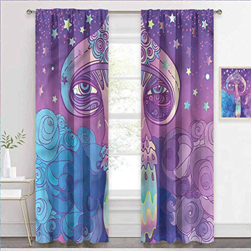 painting-home Grommet Window Curtain Mushroom, Dreamy Abstract Vibrant Noise-Canceling Curtains Keep The Indoor Privacy W72 x L72 Inch