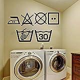 Vinilo pegatinas de pared decoración de la pared pegatinas de bricolaje Wjwy símbolo de lavandería lavadora decoración cocina baño decoración de la pared arte 45Cmx65Cm