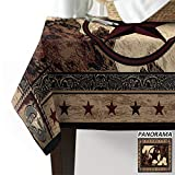 Royalreal Cotton Linen Table Cloth for Rectangle Tabletop 60x120 inch Dust-Proof Tablecover for Kitchen Dinning Outdoor and Indoor Use,Western Texas Star on Wood Panel Rustic Vintage Style