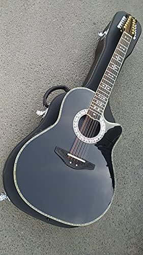 chudana 41 Inches 12 String Ovation Guitar Round Back Solid Ovation Carbon Fiber Electric Guitar 12 Strings Acoustic Guitar Wooden Guitar (Color : Guitar with hardcase, Size : 41 inches)