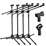 AW 4x Adjustable Height Microphone Stand Dual Mic Clip 90-degree Rotating Folding Type Boom Arm Tripod for Live Stream