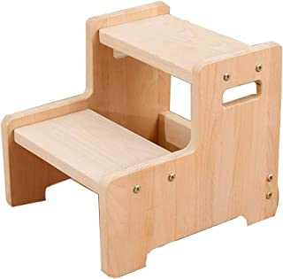 CQILONG Toilet Step Stool Wooden Firm Child Bathroom Wash Hands Steps Sleek Wash The Stool, 3 Colors (Color : B, Size : 34X30X28CM)