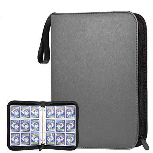 POKONBOY 720 Pockets Baseball Card Binder Sleeves, Trading Card Binder Holder Compatible with Pokemen, Football and Sports Cards (Grey)