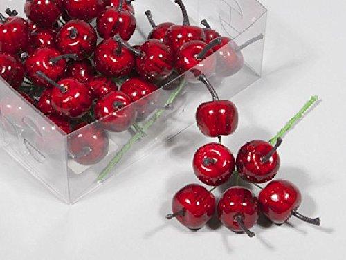 Schreiber Deko Äpfel angedrahtet / 36 Stück/rot/Ø 2,5 cm/künstliche Äpfel