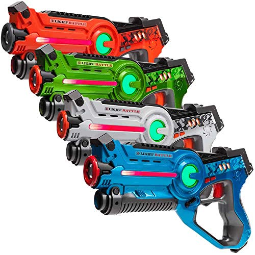 Light Battle Active Lasertag Set - 4X Laserpistole (grün, orange, weiß, blau) - LBAP1041234DP1