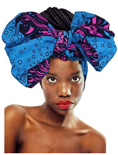 KELAND - Pañuelo para la cabeza con estampado africano para mujer Azul azul talla única