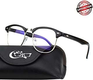 CGID CT56 Horn Rimmed Blue Light Blocking Glasses,Better Sleep,Anti Glare Fatigue Blocking Headaches Eye Strain,Great for Cell Phone Readers,Black Frame,Transparent Lens