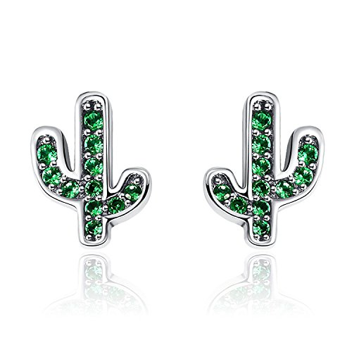 Katigan Pendientes de Plata de Ley 925 con Deslumbrante Verde Cactus para Mujer