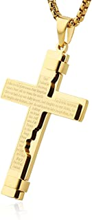 HZMAN Religion Cross Lord's Prayer Stainless Steel Pendant Necklace Rolo Cable Wheat Chain