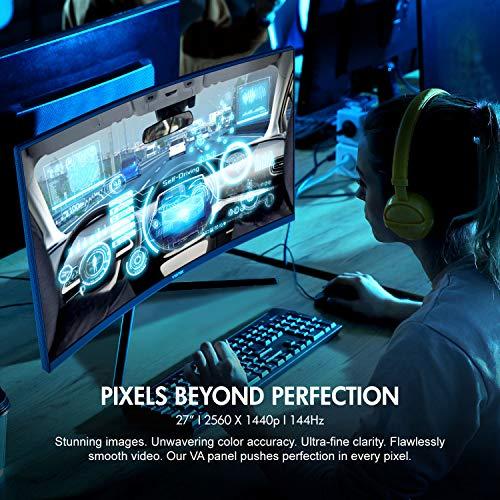 VIOTEK GNV27DB 27-Inch Curved QHD Gaming Monitor | 144Hz 2560x1440p 4.8ms (OD) | 1500R Curvature, G-Sync-Ready FreeSync | DP, 3x HDMI, 3.5mm | 3-Year Warranty + Zero-Tolerance Dead Pixel Policy (VESA)