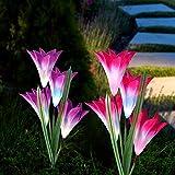 Solarleuchte Garten, CrazyFire 2 Stück Solarleuchten für Außen, Garten Lampen Lilie Solarlichter mit größerer Blume und Breiterem Solarpanel für die Gartendekoration (Pink & Lila)