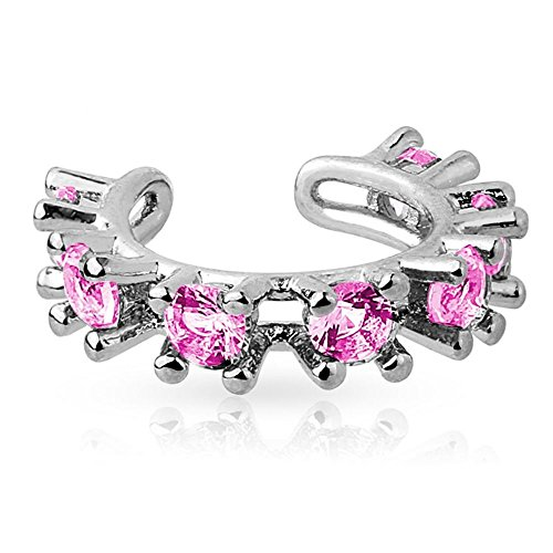 Pink - Bungsa® Ear Cuff Kristalle Zirkonia Stein silber für Damen & Herren (Ohrstecker Conch Fake Piercing Ohrringe Ohrclip Ohrschmuck Damen Frauen Herren Mode)