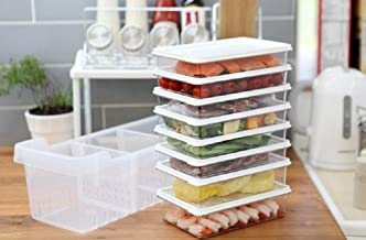Kitchen Refrigerator Organizer, Fridge and Freezer Storage Trays Large+Food Containers with Lids L1(6P)+L2(2P), Set of 9, ...