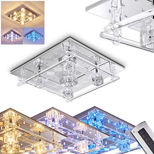 LED Deckenleuchte Kruishouten, eckige Deckenlampe aus Metall/Glas in Chrom, 5 x G4 max. 20 Watt, blaue LEDs ca. 3 Watt, mit Fernbedienung zum Ansteuern der blauen LEDs, toller Lichteffekt