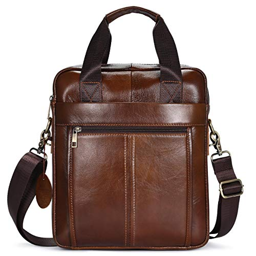 BAIGIO Genuine Leather Shoulder Bag for Men - Spacious Messenger Bag...