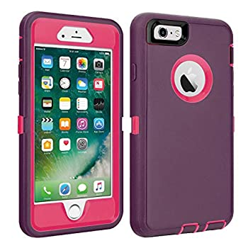 CAFEWICH iPhone 6/6S Case Heavy Duty Shockproof High Impact Tough Rugged Hybrid Rubber Triple Defender Protective Anti-Shock Silicone Mobile Phone Cover for iPhone 6/6S 4.7  Wine