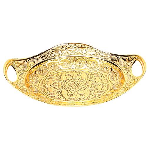 Bandeja para servir té y café turco, bandeja otomana decorativa dorada, bandeja para cosméticos, organizador de joyas, barra para mesa de fiesta al aire libre, tocador de cocina