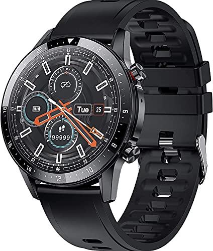 YQCH Smart Watch Call Watch Fitness Tracker con Monitor de Ritmo cardíaco Player Música Presión Arterial Pedro de Pantalla Táctil Pedómetro SmartWatch Sleep Tracker para Android iOS (Color : Black)