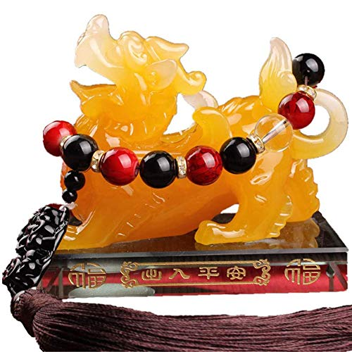 Feng Shui Pi Xiu Standbeeld hars Pi Yao figuur met kristallen kraaltjes en Bixie ornamenten trekken rijkdom en geluk voor kantoor aan auto decoratie,Yellow