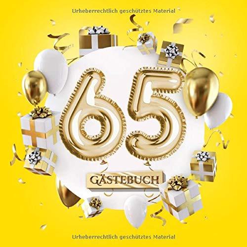 65 Gästebuch: Gelbe Deko zum 65.Geburtstag für Mann oder Frau - 65 Jahre Geschenk - Partydeko Gelb...