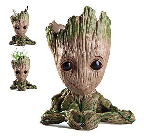 Cute Baby Groot Flowerpot Tree Man Maceta Maceta Con Orificio De Drenaje Portalápices, Diligencer Adorno De Fiesta De Oficina Regalo De Cumpleaños De Navidad 6.1
