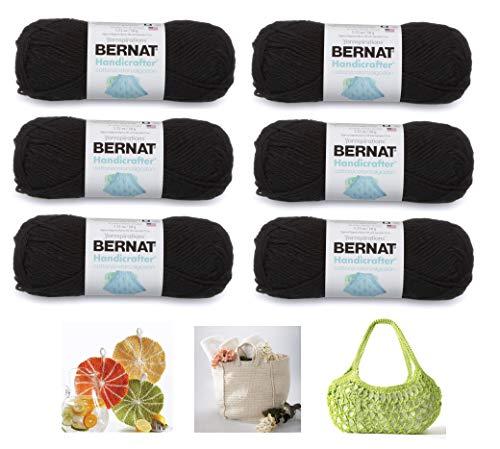 Bernat Handicrafter Cotton Solids Yarn, 1.75 oz, Gauge 4 Medium, 100% Cotton, 6-Pack Black with 3 Color Patterns
