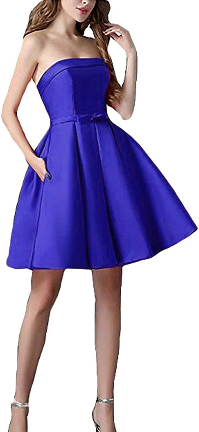 Fitty Lell Women's Short Satin Cocktail Dresses with Bow Strapless Prom Gown