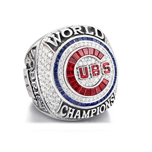 Anillo de campeonato del mundo de Chicago Cubs 2016, anillo de campeonato mundial de béisbol para fanáticos colección conmemorativa o regalo de cumpleaños del día de San Valentín, 9
