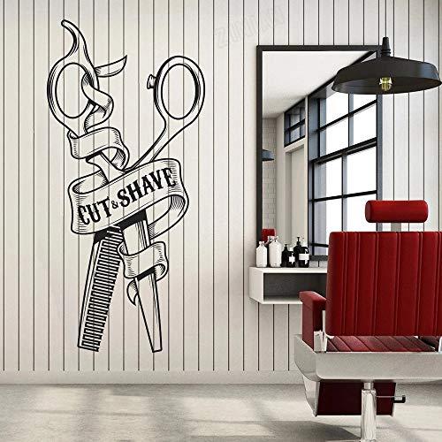 HGFDHG Cortar Afeitado Etiqueta de la Pared decoración barbería Vinilo Pared calcomanía para salón Art Deco Pared Ventana sólida autoadhesiva