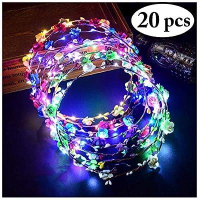 FunPa LED Flower Crown, Light Up Flower Wreath Headband Luminous 10 Led Flower Headdress Headpiece for Holiday Christmas Halloween Glow Party