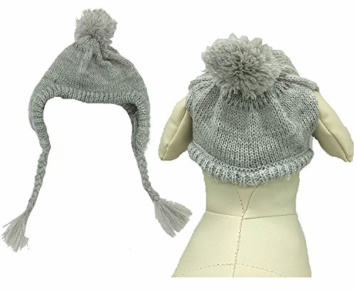 Classic Warm Pet Dog Winter Knitted Hat for Dogs, Grey Medium Head Measurement 10'