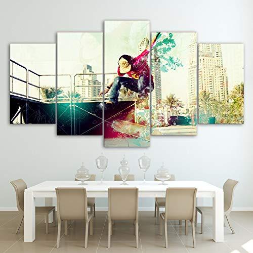 MAOYYM1 Modulaire HD gedrukte poster Moderne wooncultuur woonkamer muurkunst 5 stuks foto's coole skateboarding jongen canvas schilderij 30x40 30x60 30x80cm No Frame