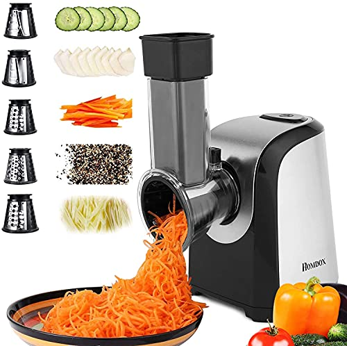 Homdox Electric Cheese Grater, Professional Salad Shooter Electric Slicer Shredder, 150W Electric Gratersr/Chopper/Shooter with One-Touch Control | 5 Free Attachments for fruits, vegetables, cheeses