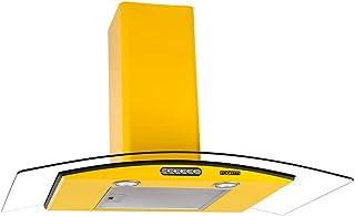 Coifa de Parede CVC Fogatti Vidro Curvo Duto Slim Amarelo 90 cm 127v - 50052730-127V