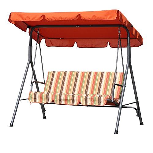 Angel Living Hollywoodschaukel Gartenschaukel 3 Sitzer mit Sonnenschutz 173x110x151cm (Terrakotta)